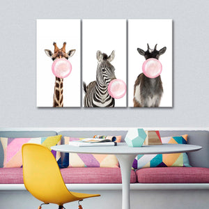 Bubble Gum Animals Canvas Set Wall Art - Animals