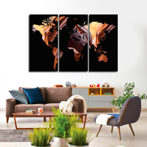 Antelope Canyon World Map Multi Panel Canvas Wall Art - World_map