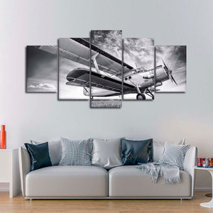 Antique Aircraft Multi Panel Canvas Wall Art - Airplane