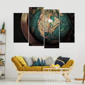 Antique Globe Multi Panel Canvas Wall Art - World_map