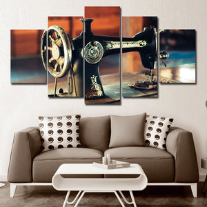 Antique Sewing Machine Multi Panel Canvas Wall Art - Sewing