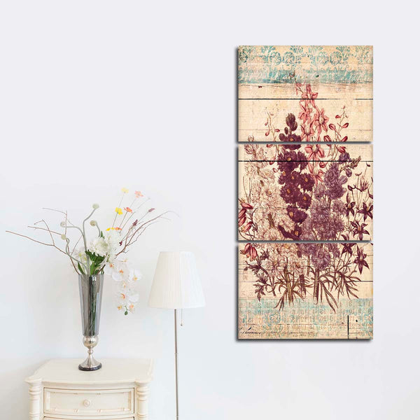 Antique Wooden Floral Multi Panel Canvas Wall Art