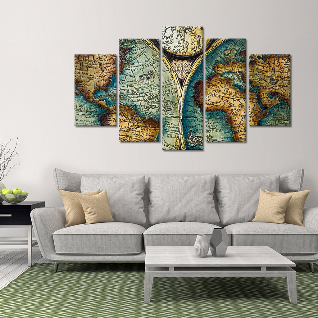 antique world map multi panel canvas wall art elephantstock. Black Bedroom Furniture Sets. Home Design Ideas