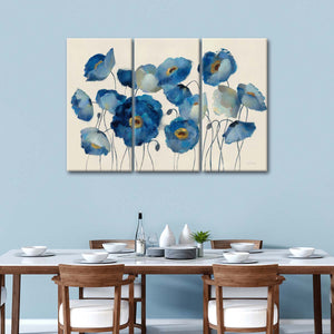 Aquamarine Floral on Cream Multi Panel Canvas Wall Art - Flower