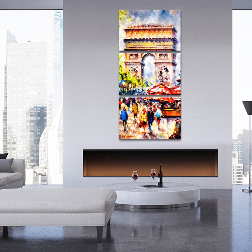 arc de triomphe multi panel canvas wall art elephantstock. Black Bedroom Furniture Sets. Home Design Ideas