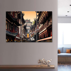 Architecture In Yuyuan Garden Multi Panel Canvas Wall Art - Asian