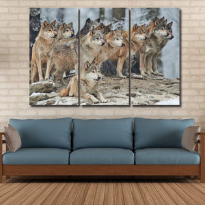 Arctic Wolfpack Multi Panel Canvas Wall Art - Wolf