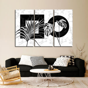 Art Deco Leaves Multi Panel Canvas Wall Art - Botanical