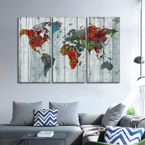 Artisanal World Map Multi Panel Canvas Wall Art - World_map