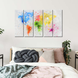 Artistic Painting World Map Multi Panel Canvas Wall Art - World_map