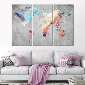 Artistic Touch World Map Multi Panel Canvas Wall Art - World_map