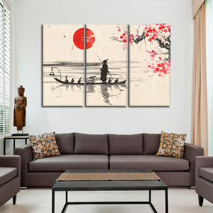 Asian Boat Ride Multi Panel Canvas Wall Art - Asian