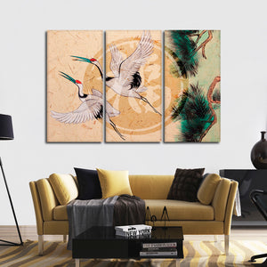 Asian Cranes Multi Panel Canvas Wall Art - Asian