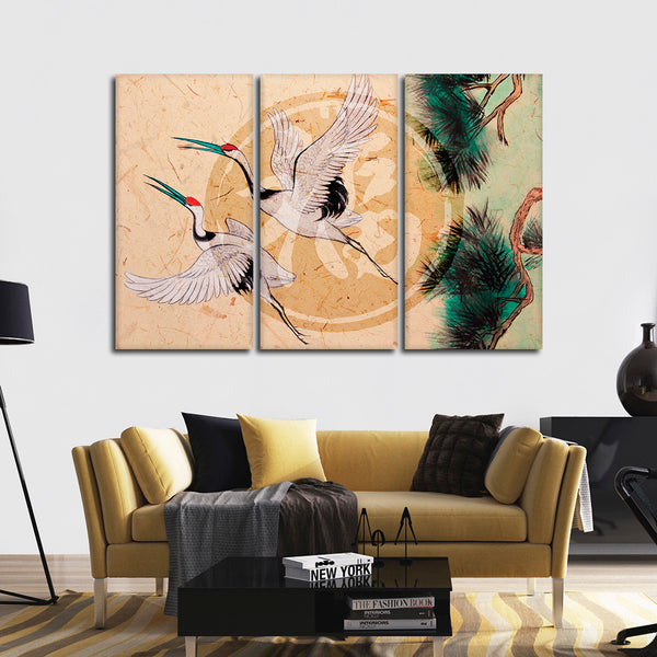 Asian Cranes Multi Panel Canvas Wall Art
