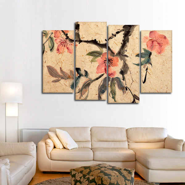 Asian Ink Flowers Multi Panel Canvas Wall Art