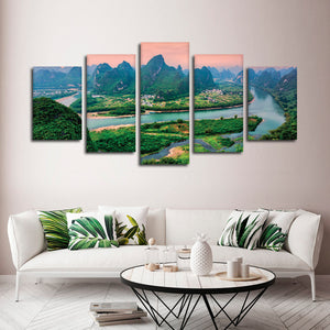 Asian River Multi Panel Canvas Wall Art - Nature