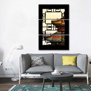 Asian Window Sunset Multi Panel Canvas Wall Art - Asian