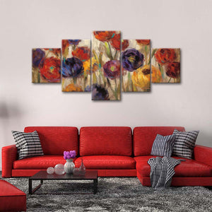 Asters and Mums Multi Panel Canvas Wall Art - Flower