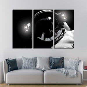 Astronaut Close Up Multi Panel Canvas Wall Art - Astronomy