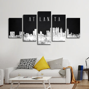 Atlanta Watercolor Skyline BW Multi Panel Canvas Wall Art - City