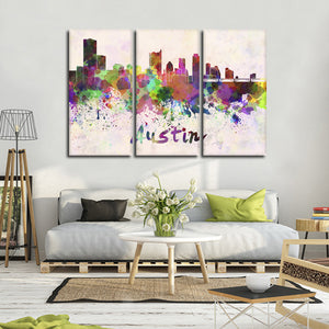 Austin Watercolor Skyline Multi Panel Canvas Wall Art - City
