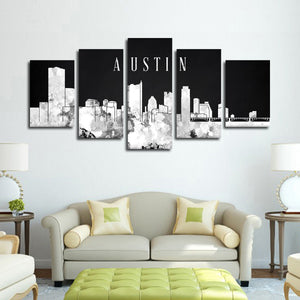 Austin Watercolor Skyline BW Multi Panel Canvas Wall Art - City
