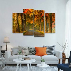 Autumn Road Multi Panel Canvas Wall Art - Nature
