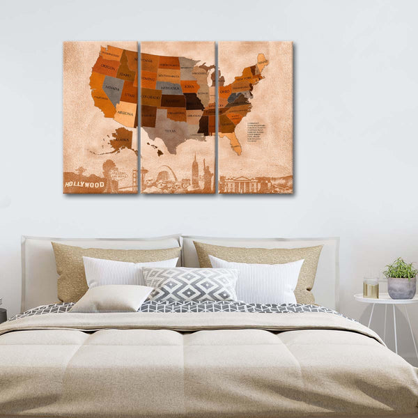 Autumn USA Map Masterpiece Multi Panel Canvas Wall Art