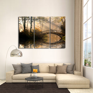 Autumn Bridge Multi Panel Canvas Wall Art - Nature
