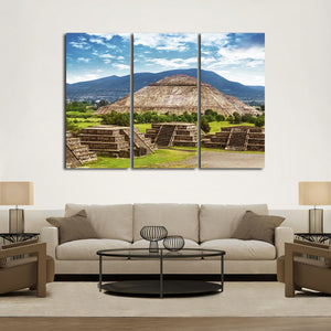 Aztec Pyramid Multi Panel Canvas Wall Art - Nature