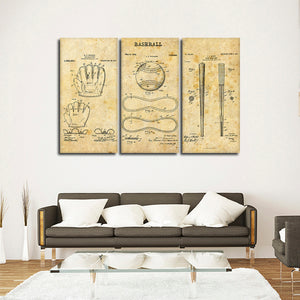 Baseball Patent Compilation Multi Panel Canvas Wall Art - Baseball