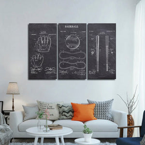 Baseball Patent Compilation BW Multi Panel Canvas Wall Art - Baseball