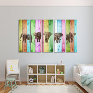 Vibrant Elephants Multi Panel Canvas Wall Art - Kids