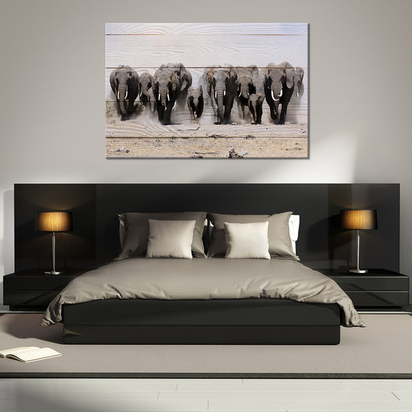 Elephants In Motion Multi Panel Canvas Wall Art | ElephantStock