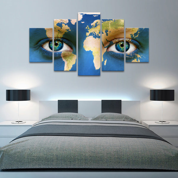 Colorful Eyes World Map Multi Panel Canvas Wall Art Elephantstock