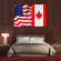 American And Canadian Flag Multi Panel Canvas Wall Art