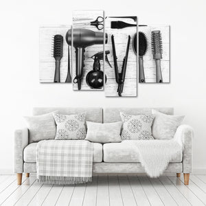 BW Cut Multi Panel Canvas Wall Art - Hair