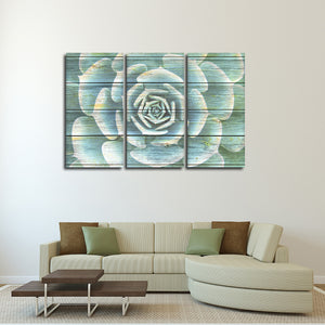 Wooden Succulent Multi Panel Canvas Wall Art - Botanical
