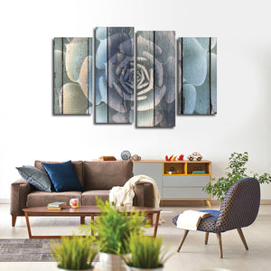 Colorful Wooden Succulent Multi Panel Canvas Wall Art - Botanical