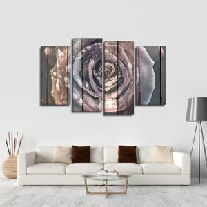 Colorful Wooden Rose Multi Panel Canvas Wall Art - Rose