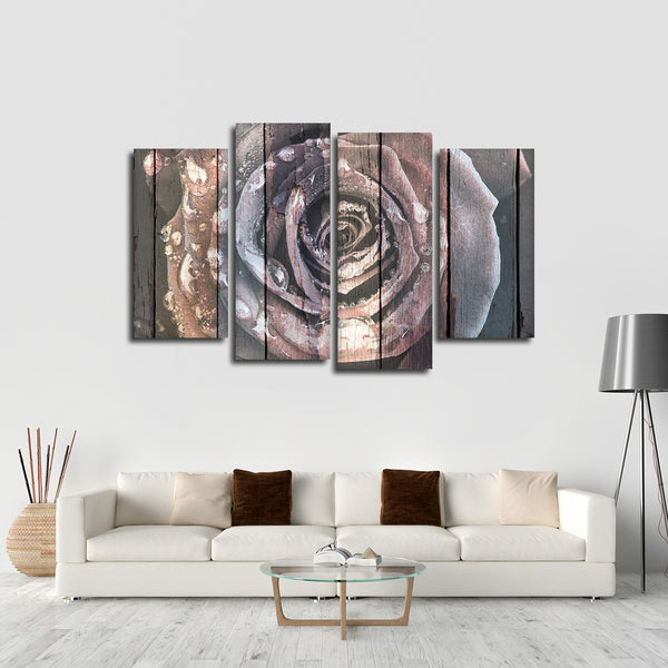 Colorful Wooden Rose Multi Panel Canvas Wall Art