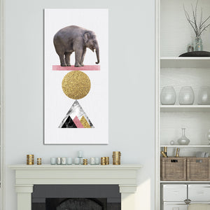 Balancing Elephant Multi Panel Canvas Wall Art - Elephant