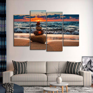 Balancing The Sun Multi Panel Canvas Wall Art - Spa
