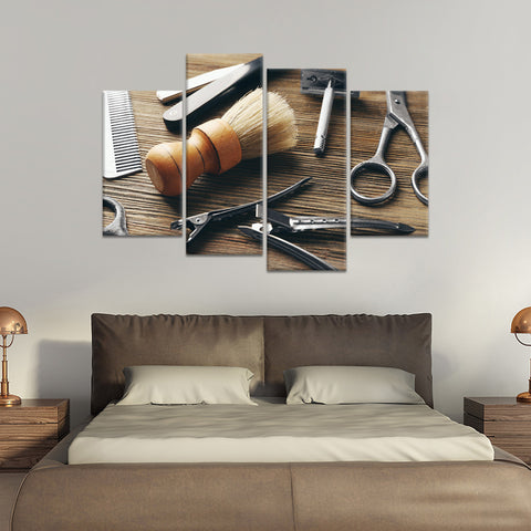 Barber Tools Multi Panel Canvas Wall Art