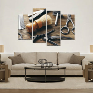 Barber Tools Multi Panel Canvas Wall Art - Hair