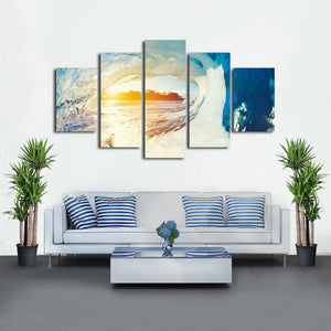 Barrel Wave Multi Panel Canvas Wall Art - Surfing