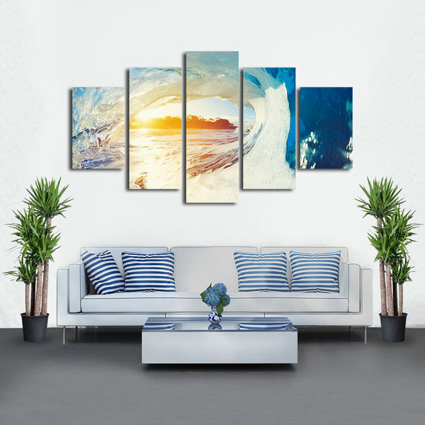 Barrel Wave Multi Panel Canvas Wall Art