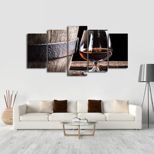 Barrel of Brandy Multi Panel Canvas Wall Art - Whiskey