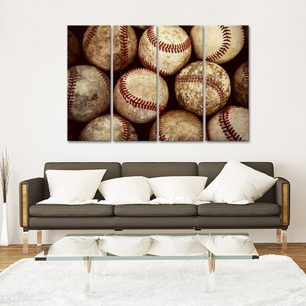 baseball multi panel canvas wall art elephantstock. Black Bedroom Furniture Sets. Home Design Ideas