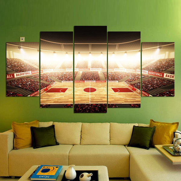 Basketball Court Multi Panel Canvas Wall Art | ElephantStock